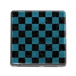 SQUARE1 BLACK MARBLE & TEAL LEATHER Memory Card Reader (Square)