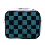 SQUARE1 BLACK MARBLE & TEAL LEATHER Mini Toiletries Bags