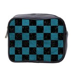 SQUARE1 BLACK MARBLE & TEAL LEATHER Mini Toiletries Bag 2-Side