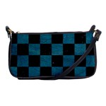 SQUARE1 BLACK MARBLE & TEAL LEATHER Shoulder Clutch Bags