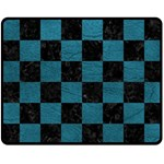 SQUARE1 BLACK MARBLE & TEAL LEATHER Fleece Blanket (Medium)