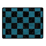 SQUARE1 BLACK MARBLE & TEAL LEATHER Fleece Blanket (Small)