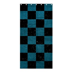 SQUARE1 BLACK MARBLE & TEAL LEATHER Shower Curtain 36  x 72  (Stall)