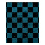 SQUARE1 BLACK MARBLE & TEAL LEATHER Shower Curtain 60  x 72  (Medium)