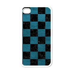 SQUARE1 BLACK MARBLE & TEAL LEATHER Apple iPhone 4 Case (White)