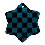 SQUARE1 BLACK MARBLE & TEAL LEATHER Snowflake Ornament (Two Sides)