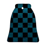 SQUARE1 BLACK MARBLE & TEAL LEATHER Bell Ornament (Two Sides)
