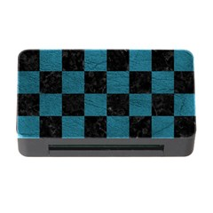 SQUARE1 BLACK MARBLE & TEAL LEATHER Memory Card Reader with CF