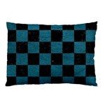 SQUARE1 BLACK MARBLE & TEAL LEATHER Pillow Case (Two Sides)