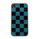 SQUARE1 BLACK MARBLE & TEAL LEATHER Apple iPhone 4 Case (Clear)