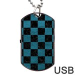 SQUARE1 BLACK MARBLE & TEAL LEATHER Dog Tag USB Flash (Two Sides)