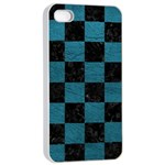 SQUARE1 BLACK MARBLE & TEAL LEATHER Apple iPhone 4/4s Seamless Case (White)