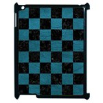 SQUARE1 BLACK MARBLE & TEAL LEATHER Apple iPad 2 Case (Black)