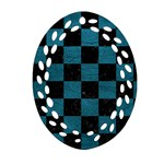 SQUARE1 BLACK MARBLE & TEAL LEATHER Oval Filigree Ornament (Two Sides)