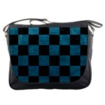 SQUARE1 BLACK MARBLE & TEAL LEATHER Messenger Bags