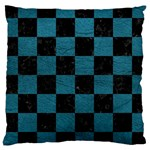 SQUARE1 BLACK MARBLE & TEAL LEATHER Large Cushion Case (Two Sides)