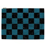 SQUARE1 BLACK MARBLE & TEAL LEATHER Cosmetic Bag (XXL)
