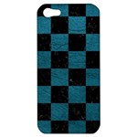 SQUARE1 BLACK MARBLE & TEAL LEATHER Apple iPhone 5 Hardshell Case