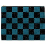 SQUARE1 BLACK MARBLE & TEAL LEATHER Cosmetic Bag (XXXL)