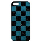 SQUARE1 BLACK MARBLE & TEAL LEATHER Apple iPhone 5 Seamless Case (Black)