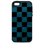 SQUARE1 BLACK MARBLE & TEAL LEATHER Apple iPhone 5 Hardshell Case (PC+Silicone)