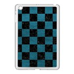 SQUARE1 BLACK MARBLE & TEAL LEATHER Apple iPad Mini Case (White)