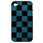 SQUARE1 BLACK MARBLE & TEAL LEATHER Apple iPhone 4/4S Hardshell Case (PC+Silicone)