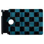 SQUARE1 BLACK MARBLE & TEAL LEATHER Apple iPad 2 Flip 360 Case