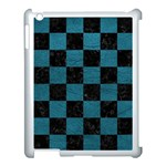 SQUARE1 BLACK MARBLE & TEAL LEATHER Apple iPad 3/4 Case (White)