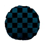 SQUARE1 BLACK MARBLE & TEAL LEATHER Standard 15  Premium Round Cushions