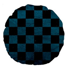 Square1 Black Marble & Teal Leather Large 18  Premium Round Cushions by trendistuff