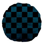 SQUARE1 BLACK MARBLE & TEAL LEATHER Large 18  Premium Round Cushions