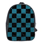 SQUARE1 BLACK MARBLE & TEAL LEATHER School Bag (XL)