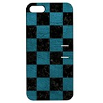 SQUARE1 BLACK MARBLE & TEAL LEATHER Apple iPhone 5 Hardshell Case with Stand