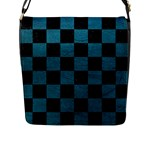 SQUARE1 BLACK MARBLE & TEAL LEATHER Flap Messenger Bag (L)