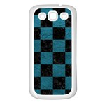 SQUARE1 BLACK MARBLE & TEAL LEATHER Samsung Galaxy S3 Back Case (White)