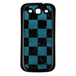 SQUARE1 BLACK MARBLE & TEAL LEATHER Samsung Galaxy S3 Back Case (Black)