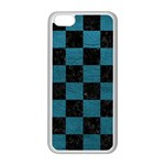 SQUARE1 BLACK MARBLE & TEAL LEATHER Apple iPhone 5C Seamless Case (White)