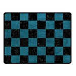 SQUARE1 BLACK MARBLE & TEAL LEATHER Double Sided Fleece Blanket (Small)