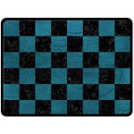 SQUARE1 BLACK MARBLE & TEAL LEATHER Double Sided Fleece Blanket (Large)