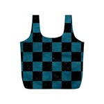 SQUARE1 BLACK MARBLE & TEAL LEATHER Full Print Recycle Bags (S)