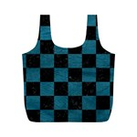 SQUARE1 BLACK MARBLE & TEAL LEATHER Full Print Recycle Bags (M)