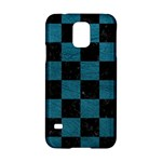 SQUARE1 BLACK MARBLE & TEAL LEATHER Samsung Galaxy S5 Hardshell Case