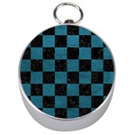 SQUARE1 BLACK MARBLE & TEAL LEATHER Silver Compasses