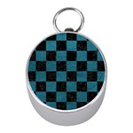 SQUARE1 BLACK MARBLE & TEAL LEATHER Mini Silver Compasses