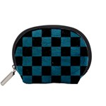 SQUARE1 BLACK MARBLE & TEAL LEATHER Accessory Pouches (Small)