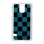 SQUARE1 BLACK MARBLE & TEAL LEATHER Samsung Galaxy S5 Case (White)