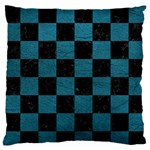 SQUARE1 BLACK MARBLE & TEAL LEATHER Standard Flano Cushion Case (Two Sides)