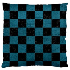 SQUARE1 BLACK MARBLE & TEAL LEATHER Large Flano Cushion Case (Two Sides)