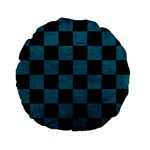 SQUARE1 BLACK MARBLE & TEAL LEATHER Standard 15  Premium Flano Round Cushions